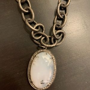 """Dendritic Opal pendant, 1"""" with pave diamonds."""